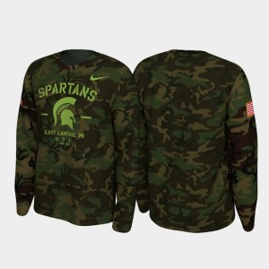 Michigan State Spartans T-Shirt 2019 Veterans Day Camo Legend Long Sleeve Mens