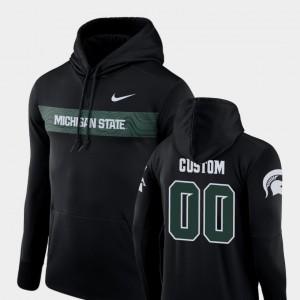 Michigan State Spartans Custom Hoodies Black Sideline Seismic Men #00 Football Performance