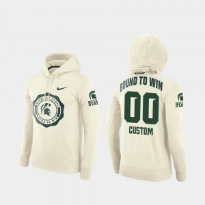 Michigan State Spartans Customized Hoodies For Men College Football Pullover #00 Rival Therma Cream