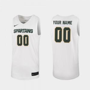 Michigan State Spartans Custom Jerseys 2019-20 College Basketball #00 White For Men's Replica