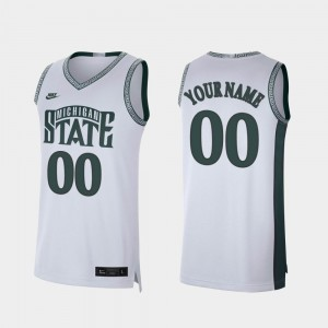 Michigan State Spartans Custom Jersey College Basketball Retro Limited White Mens #00