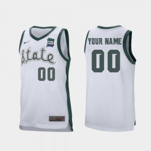 Michigan State Spartans Custom Jerseys 2019 Final-Four Retro Performance White #00 Mens