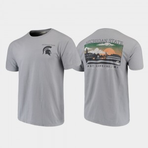 Michigan State Spartans T-Shirt Gray Comfort Colors Mens Campus Scenery