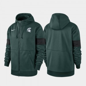 Michigan State Spartans Hoodie 2019 Sideline Therma-FIT Green Performance Full-Zip For Men