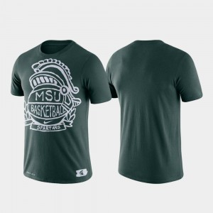 Michigan State Spartans T-Shirt Green For Men's Performance Basketball Crest