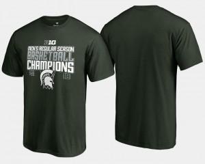 Michigan State Spartans T-Shirt Basketball Regular Season For Men Green 2018 Big Ten Champions