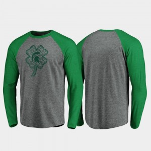 Michigan State Spartans T-Shirt St. Patrick's Day Heathered Gray Raglan Long Sleeve Celtic Charm For Men's