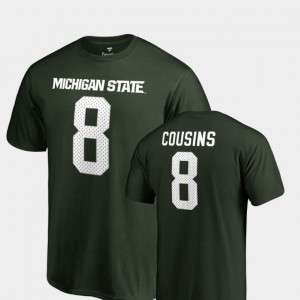 Michigan State Spartans Kirk Cousins T-Shirt Name & Number Green Men College Legends #8