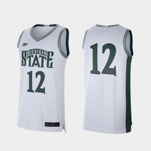 Michigan State Spartans Jersey White Mens College Basketball #12 Retro Limited
