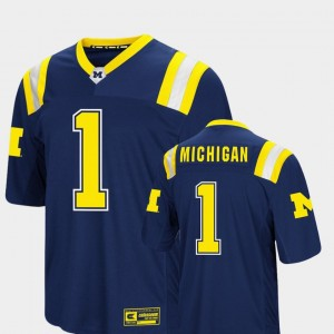Michigan Wolverines Jersey For Men's #1 Colosseum Authentic Navy Foos-Ball Football