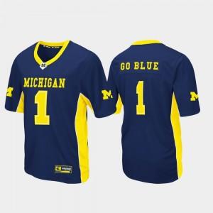 Michigan Wolverines Jersey Max Power #1 Navy Men Football