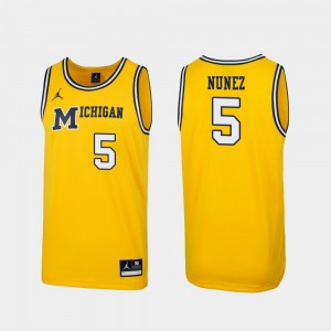 Michigan Wolverines Adrien Nunez Jersey Replica Maize 1989 Throwback College Basketball Men #5