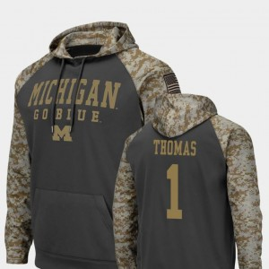 Michigan Wolverines Ambry Thomas Hoodie #1 Mens Charcoal United We Stand Colosseum Football