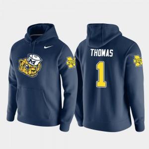 Michigan Wolverines Ambry Thomas Hoodie #1 Vault Logo Club Navy Pullover Men's