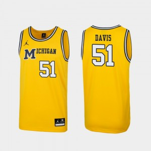 Michigan Wolverines Austin Davis Jersey 1989 Throwback College Basketball Men #51 Maize Replica