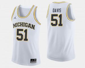 Michigan Wolverines Austin Davis Jersey #51 White College Basketball Men's