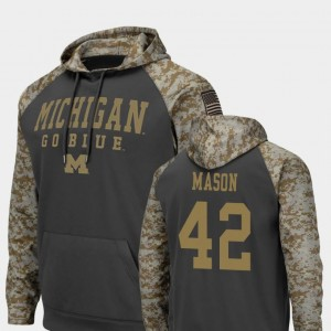 Michigan Wolverines Ben Mason Hoodie For Men's Colosseum Football United We Stand #42 Charcoal