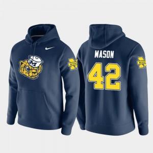 Michigan Wolverines Ben Mason Hoodie Pullover #42 Vault Logo Club Navy For Men's