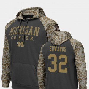 Michigan Wolverines Berkley Edwards Hoodie Charcoal Colosseum Football #32 United We Stand Men's