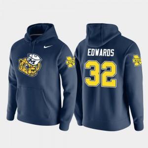 Michigan Wolverines Berkley Edwards Hoodie Mens #32 Vault Logo Club Navy Pullover