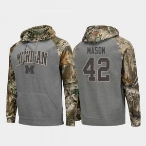 Michigan Wolverines Ben Mason Hoodie Charcoal #42 Raglan College Football For Men Realtree Camo