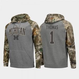 Michigan Wolverines Ambry Thomas Hoodie Realtree Camo For Men's #1 Raglan College Football Charcoal