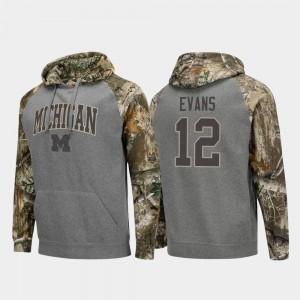 Michigan Wolverines Chris Evans Hoodie Mens Charcoal Realtree Camo #12 Raglan College Football