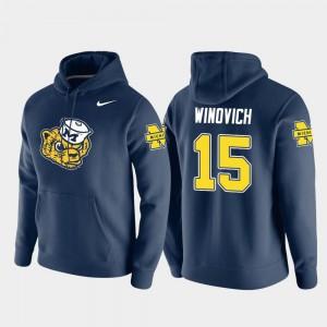 Michigan Wolverines Chase Winovich Hoodie Pullover Navy #15 For Men Vault Logo Club