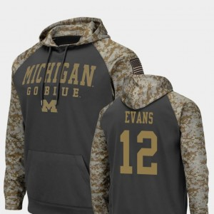 Michigan Wolverines Chris Evans Hoodie #12 Colosseum Football For Men's Charcoal United We Stand