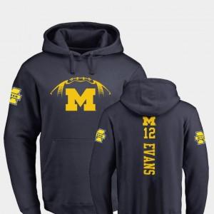 Michigan Wolverines Chris Evans Hoodie Navy Backer Men's College Football #12