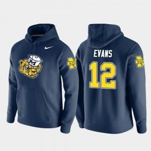Michigan Wolverines Chris Evans Hoodie Pullover Men Vault Logo Club Navy #12