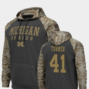 Michigan Wolverines Christian Turner Hoodie Charcoal #41 For Men's United We Stand Colosseum Football