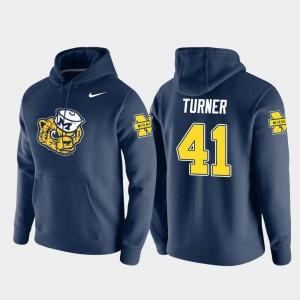 Michigan Wolverines Christian Turner Hoodie #41 Pullover Vault Logo Club Navy Men