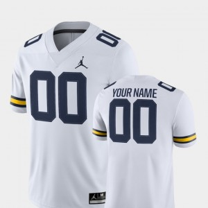 Michigan Wolverines Customized Jerseys College Football For Men's White 2018 Game #00