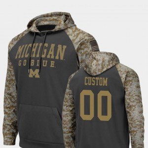 Michigan Wolverines Customized Hoodies Charcoal Colosseum Football United We Stand Men's #00