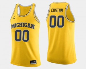 Michigan Wolverines Custom Jersey #00 College Basketball Men Maize