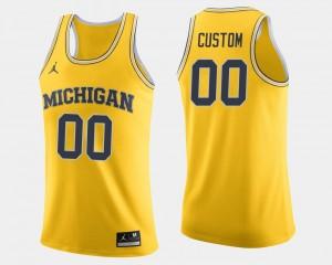 Michigan Wolverines Customized Jerseys Maize Men's College Basketball #00