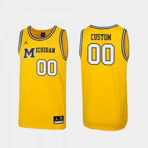Michigan Wolverines Custom Jersey Replica #00 1989 Throwback College Basketball Maize For Men