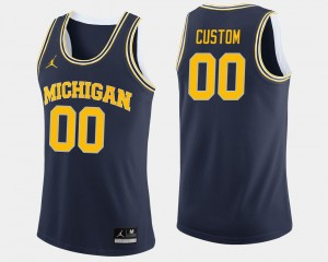 Michigan Wolverines Custom Jerseys College Basketball Men Navy #00