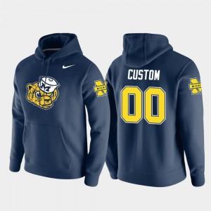 Michigan Wolverines Custom Hoodie Pullover Navy Vault Logo Club Mens #00