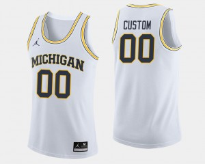 Michigan Wolverines Custom Jerseys College Basketball #00 White Men's