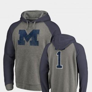 Michigan Wolverines Hoodie Men Raglan Tri-Blend Big & Tall Greatest Dad Heathered Gray