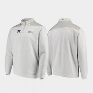 Michigan Wolverines Jacket For Men's Quarter-Zip Heathered Gray Shep Shirt