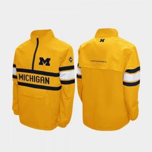 Michigan Wolverines Jacket Quarter-Zip Maize Men Alpha Windshell Pullover