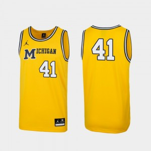 Michigan Wolverines Jersey 1989 Throwback College Basketball #41 Maize Replica Men's