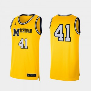 Michigan Wolverines Jersey Mens Retro Limited College Basketball Maize #41