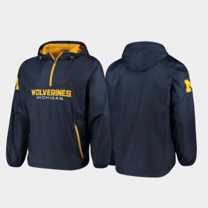 Michigan Wolverines Jacket Base Runner Navy Men's Half-Zip