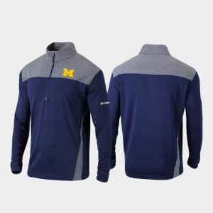 Michigan Wolverines Jacket Men Quarter-Zip Pullover Navy Omni-Wick Standard