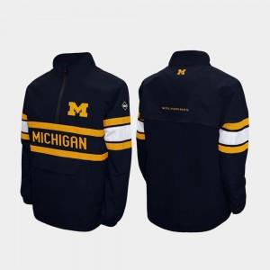 Michigan Wolverines Jacket Quarter-Zip Alpha Windshell Pullover Navy For Men