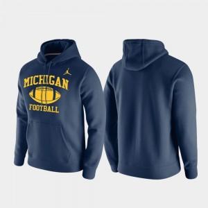 Michigan Wolverines Hoodie Navy For Men's Club Fleece Retro Football